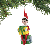 Elf Holding Gift ornament