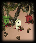 Mountain Berry Tin Birdhouse Ornament (cream)
