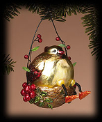 Golden Shimmer Cardinal ornament