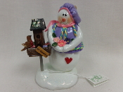 Lady w/Large Birdhouse, Lavender Hat
